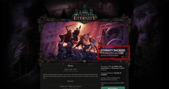 Welcome to the Pillars of Eternity backer portal.