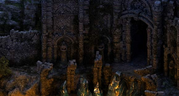 Engwithan ruins at night.